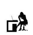 Girl silhouette in office vector image