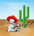Snowman and Cactus vector image