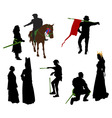 silhouettes of medieval people vector image