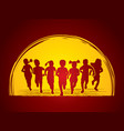 group of children running together graphic vector image