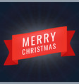 red realistic paper merry christmas banner on dark vector image