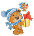 teddy bear in a knitted cap and scarf vector image