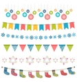 Christmas flags and garland set vector image vector image