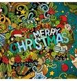 Cartoon cute doodles hand drawn Merry Christmas vector image
