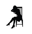 girl silhouette on chair vector image