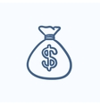 Money bag sketch icon vector image
