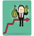 Cartoon businessman carrying the bag of money on vector image