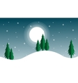 Christmas scenery with spruce and moon vector image