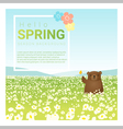 Hello spring landscape background with bear 1 vector image