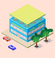 isometric shopping center with supermarket foods vector image