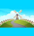 mill fence road - cartoon vector image