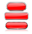 Red buttons with metal frame collection of shapes vector image