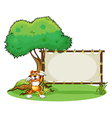 A tiger and the wooden frame vector image