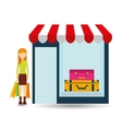 briefcases woman buys gifts vector image