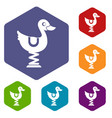 duck ride in playground icons set vector image