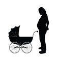 pregnant women with baby carriages vector image