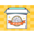 open box with icon of pizza on yellow pa vector image