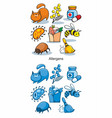 Cartoon allergen icons set vector image