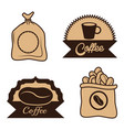 Coffee label sac beans cup desgin vector image