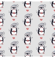 Funny Penguins Seamless Pattern in Flat vector image