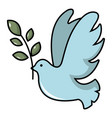pigeon with olive branch icon cartoon style vector image