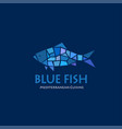 blue fish logo seafood cuisine restaurant vector image