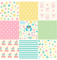 Cute Baby Seamless Set vector image