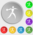 Discus thrower icon sign Symbol on eight flat vector image