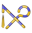 Osiris crossed hook and flail icon cartoon style vector image