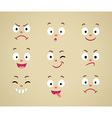 Set of cartoon emotional faces vector image