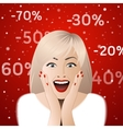Surprised woman portrait with discount signs vector image