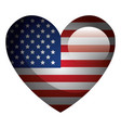 united statae of america flag with heart shape vector image