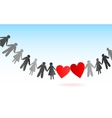 Paper chain men and women with hearts vector image