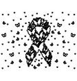 breast cancer symbol with flying butterflies vector image