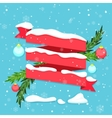 Red ribbon with snow baubles and fir branches vector image