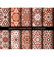 Brown geometric patterns set vector image