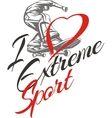 I love extreme sport Skateboarder and hearts vector image