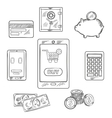 Online shopping objects and icons vector image