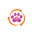 Pet dog foot clean logo vector image