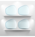 Shelves with glass app icons on white background vector image