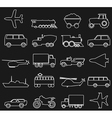 Transport outline icons vector image