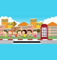 many children on the sidewalk vector image