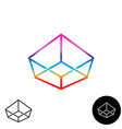 3D wireframe linear rainbow color logo Crown vector image