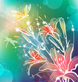 background with flowers lily vector image
