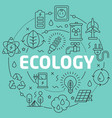 green line flat circle ecology vector image