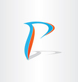 letter p stylized icon design vector image