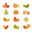 Multicolor autumn leaves flat icons Fall vector image