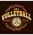 Volleyball championship logo with ball - vector image