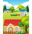 Neighborhood with many houses vector image