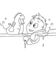 Child having a bath bw vector image vector image
